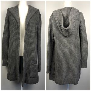 Vince. Gray Wool Cashmere Duster Cardigan w Hood